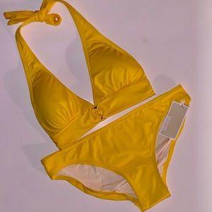 NWT Michael Kors Gold Yellow Bikini Logo Ring